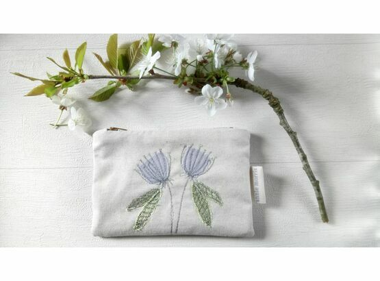Agapanthus Flowers Natural Linen Embroidered Purse