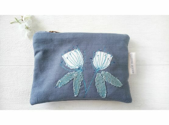 Floral Embroidered Blue Linen Purse