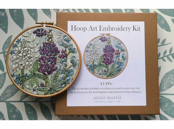 'Lupin' Floral Hoop Art Hand Embroidery Kit