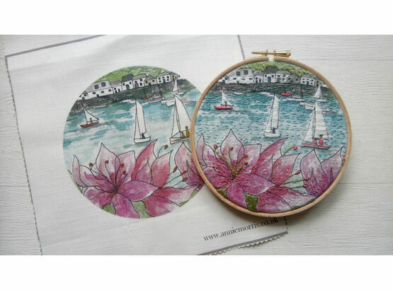 'Salcombe Regatta' Linen Panel Embroidery Pattern