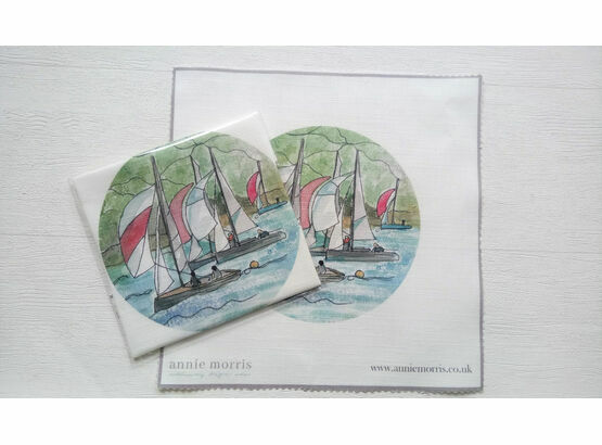 'Dartmouth Sail Boats' Linen Panel Embroidery Pattern