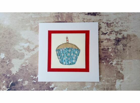 'Cupcake' Handmade Embroidery Greetings Card