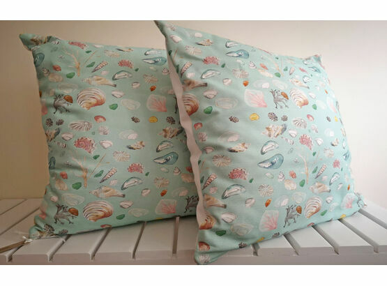 Teal Printed Sea Shell Cushion