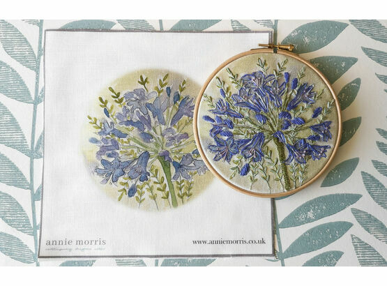 Agapanthus Hand Embroidery Pattern, Linen Panel