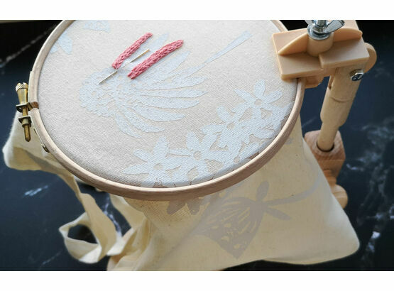 Versatile seat frame embroidery stand