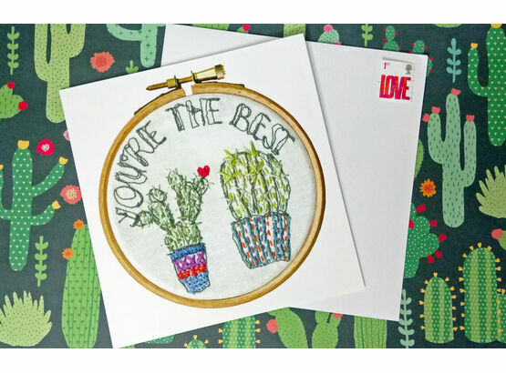 'You're the Best' Printed Embroidery Greetings Card