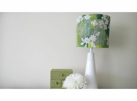 Green & White Floral Embroidered Lampshade