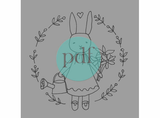 'Bunny Girl' PDF Embroidery Pattern