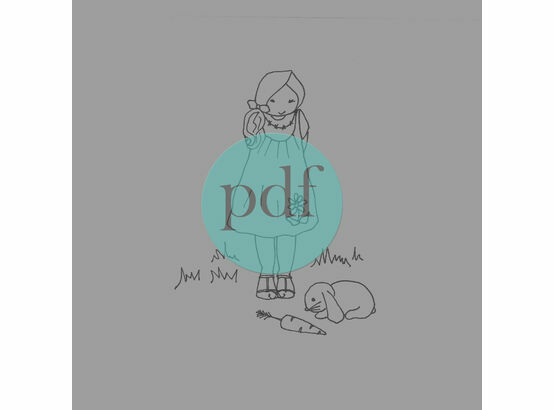 \'Girl With Bunny\' PDF Embroidery Pattern