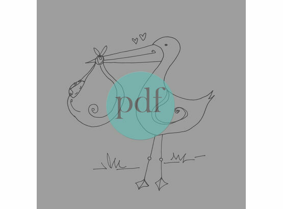 'Stork & Baby' PDF Embroidery Pattern
