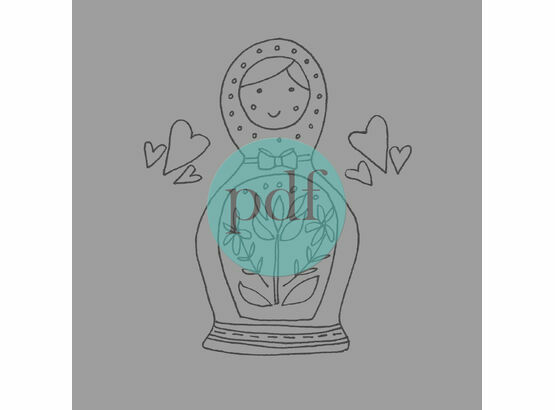 'Russian Doll' PDF Embroidery Pattern