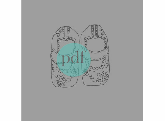'Girl's First Shoes' PDF Embroidery Pattern