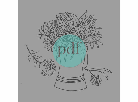 'Jug Of Flowers' PDF Embroidery Pattern