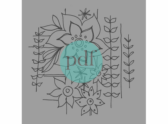 'Stylised Retro Flowers' PDF Embroidery Pattern
