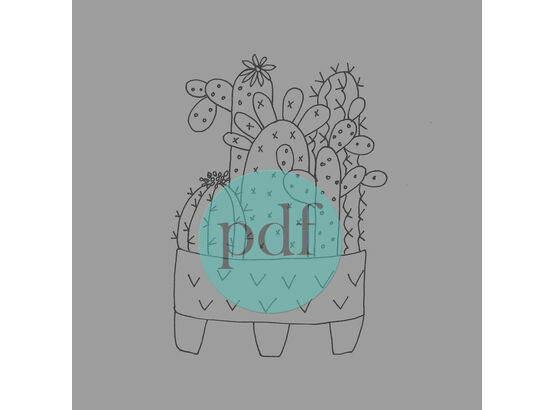 'Cactus In Pot' PDF Embroidery Pattern